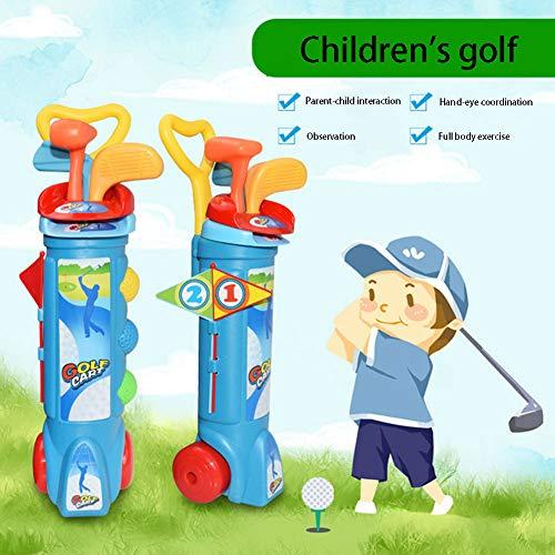 QINYUP Set de Golf de Interior y al Aire Libre Deportes Bola de los niños Aptitud primarios y Secundarios de práctica al Aire Libre Juguetes