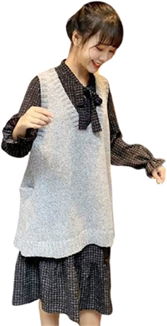 Sweater Vest Women Solid Pocket Plus Size Loose Waistcoat Winter Korean Style Knitted Jumpers