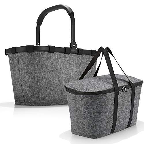 reisenthel carrybag mit coolerbag Einkaufkorb Einkaufstasche Isobag Isotasche Kühltasche Kühlkorb (Twist Silver + Twist Silver)