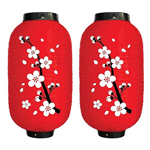 Demiawaking 2 Pezzi Lanterna Giapponese con Stampa Sakura Lanterna Decorativa da Appendere Lanterna in Tessuto Impermeabile Lanterna Paralume Decorazioni per Ristorante Bar Giardino Cortile (Rosso)