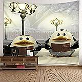KnBoB Tapiz Decorativo Pared Lámpara de Pie Two Penguins 260 x 240 CM Tapiz Poliéster Impermeable Decoracion Hogar