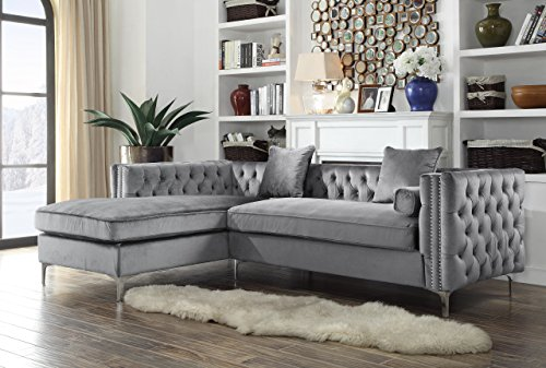 Iconic Home Da Vinci Tufted Silver Trim Grey Velvet Left Facing Sectional Sofa