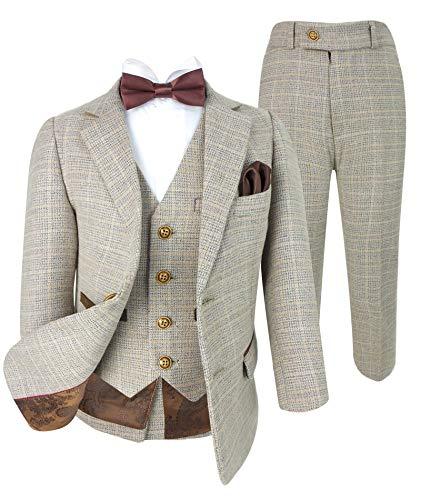 Klassischer Tweed-Anzug für Jungen, Beige / Braun Gr. 4 Jahre, 6 Stück Beige Braun Kariert