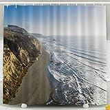 Cortina de ducha transparente, juego de cortina de ducha con ganchos, increíble vista aérea Impresionante paisaje de la costa del mar Medio ambiente salvaje en Chile El sol Decoración impermeable Baño