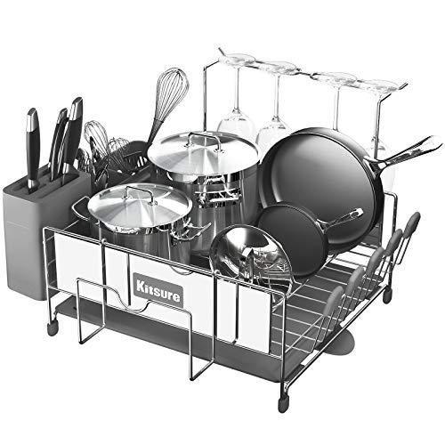 Kitsure Dish Drying Rack, Large Kitchen Dish Rack and Drainboard Set...