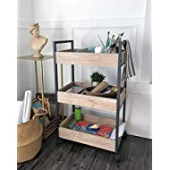 roomfitters 3 Tier Rolling Utility Storage Cart, Kitchen Serving Bar Cart, Multipurpose Bathroom Nursery, Oak