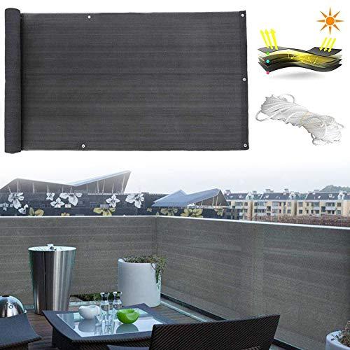 Balkon Sichtschutz Anthrazit, Sichtschutz Gartenzaun Balkonabdeckung Balkon Sichtschutz Balkonbespannung Balkonverkleidung HDPE WitterungsbestäNdig und UV-Schutz, In Div. Größen,0.9x7m