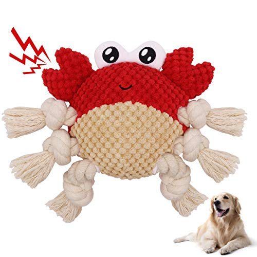 ACKMIOXY Dog Plush Toys Dog Chew Toys Pet Squeaky Toys Interactive Stuffed Chewing and Durable Rope Toys for PuppySmallMediumLarge Dogs Reducing Boredom Crab