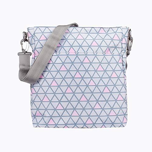 Kiwisac Trendy Crosses Bolso para Carro de Bebé Universal Diseño Original de Triángulos color Rosa y Gris Bolso Organizador con Cambiador, Bandolera Ajustable y Cintas de Sujeción 36x11x32 cm