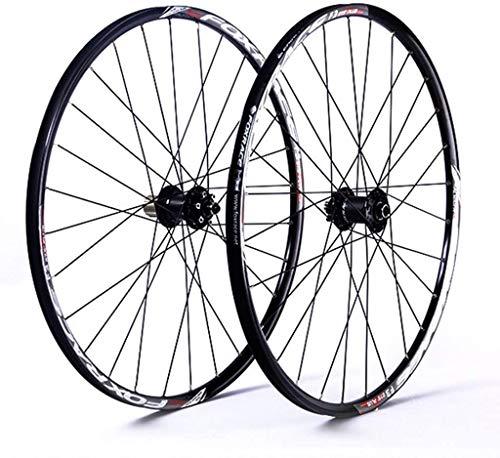 YSHUAI - Juego de ruedas para bicicleta de 26 pulgadas 5.27 pulgadas, llanta delantera y trasera de doble pared, freno de disco sellado QR 1610g 7-11 velocidades Cassette 24H, color Buje negro, tamaño 27.5inch