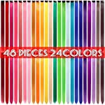 Beauty Shopping 48 Pcs Colorful Straight Hair Extensions Clip in 21 Inch Rainbow
