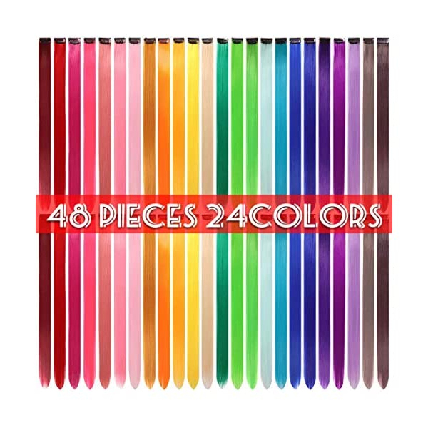Beauty Shopping 48 Pcs Colorful Straight Hair Extensions Clip in 21 Inch Rainbow Multi-color Clip