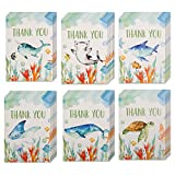 30 Under The Sea Thank You Cards w/Envelopes & Stickers, Bulk Boxed Set Assortment of Whale, Shark & Turtle Thank You Notes. Assorted Ocean Watercolor Cards Pack for Kids Birthdays, Baby Shower