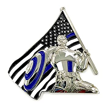Thin Blue Line Captain America - 3D America s Shield & Blue Lives Matter USA Flag Law Enforcement Officers  LEO  NYPD Military Police Challenge Coins with Unique Serial Number