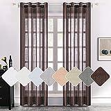 MIULEE - 2 paneles de lino natural semitransparente, cortinas elegantes de color chocolate sólido con ojales en la parte superior de la ventana, paneles de gasa de lino con textura para dormitorio o...