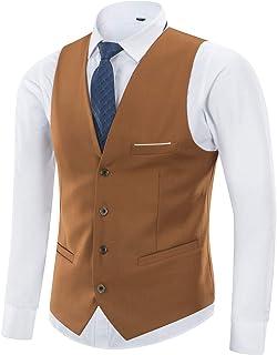 Yingqible メンズ ジレ スーツ ベスト ビジネス フォーマル チョッキ ウェストコート Vネック スリム 結婚式ベスト フィット 紳士 17色展開