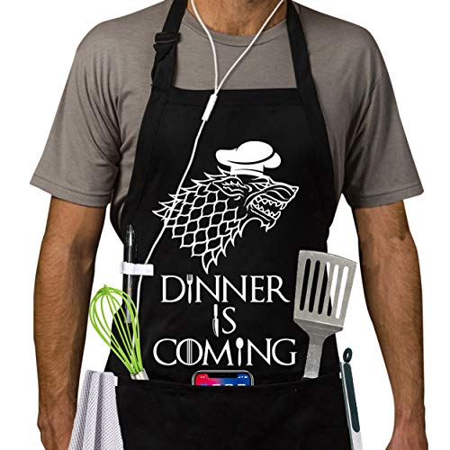Grill Aprons Kitchen Chef Bib- Dinner is Coming BBQ Cooking...