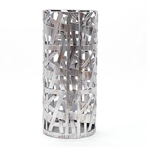 DESIGN, portaombrelli Chicago, in metallo color argento antichizzato, 50,8cm