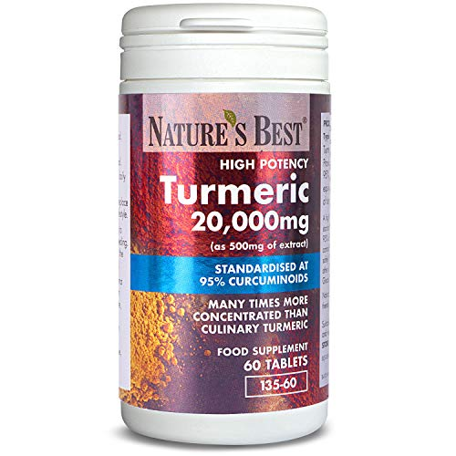 Turmeric 20,000mg (as 500mg of Extract) - High Strength 95% Curcumins - 60 Vegan Tablets - UK Made - one of The UKs Strongest and purest