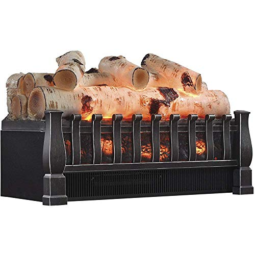 Regal Flame 20 Inch Electric Fireplace Log Realistic Ember Bed Insert with Heater in Birch
