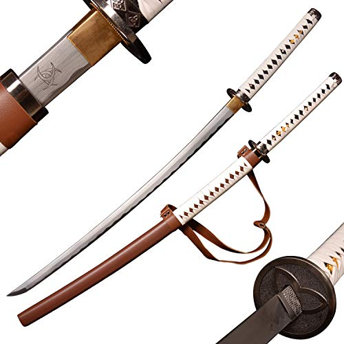 SV Samurai Sword of The Walking Dead Michonne, Zombie Nihontou Katana Samurai Sword, Hand-Forged 41 inches, 1045 high Carbon Steel/high Temperature Hardening, Brown and White Double Color Matching