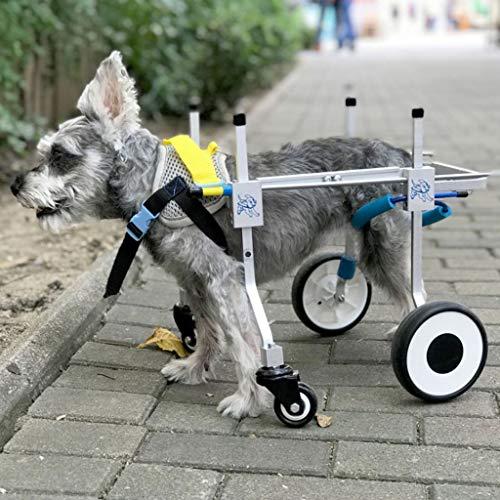 Dog Pet Wheelchair, Best Friend Dog Wheelchair 4 Wheels Adjustable Stainless Steel Cart Pet Cat Hind Leg Rehabilitation for Handicapped Dog Dog Pet Stroller (Size : XXXS)