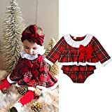 squarex 0-24 Months Baby Romper, Newborn Infant Baby Girl Ruffle Bow Clothes Plaid Dress Tops Lace Romper, Kids Autumn Winter Christmas Long Sleeve Clothes Red