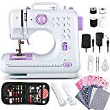 Hoxinlong Sewing Machine for Beginners, 2 Speeds Double Thread with Foot Pedal, 12 Built-in Stitches with Reverse Sewing, DIY Sewing Accessories (Light Purple)