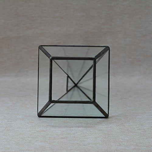 B Blesiya 2X Mini Glas Terrarium Geometrisches Pflanzen Kupfer+Diamant+16 * 16 * 25cm - 12 * 12 * 24cm, Kupfer+Pyramide