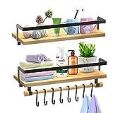 SHAN ZU Juego de 2 estantes flotantes montados en la pared, estante de almacenamiento de madera...