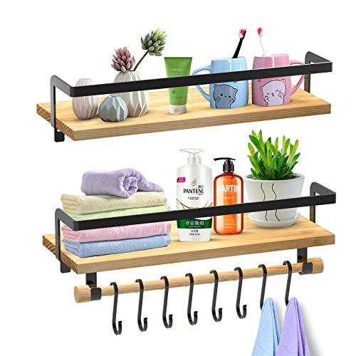 SHAN ZU Set mit 2 Schwebende Regale Wandmontage, Rustikales Holzregal mit Handtuchhalter und 8 Abnehmbaren Haken für Schlafzimmer Badezimmer Küchenorganisator, 41,9 x 17 x 1,5 cm