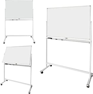 ShowMaven 48x32 Inch by 6 Feet Height Mobile Whiteboard Freestanding, Double-Side Magnetic Dry Erase Board Stand, Rolling Chalkboard, 4 Wheels with Brakes, Portable Free Markers/Magnets/Eraser