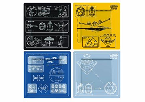 Star Wars Rogue One SW02609 Assiettes (Set de 4), Mélamine, Multicolore, 20,5 x 2 x 20,5 cm