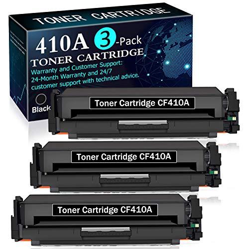 3 Pack Black CF410A | 410A Toner Cartridge Replacement for HP Color Laserjet Pro MFP M377dw M477fdn M477fdw M477fnw M452dn M452dw M452nw Printers Toner