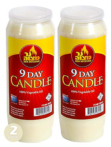 9 Day Yartzeit Candle - Pack of Two - Kosher Yahrtzeit Memorial and Yom Kippur Candle in Plastic Holder