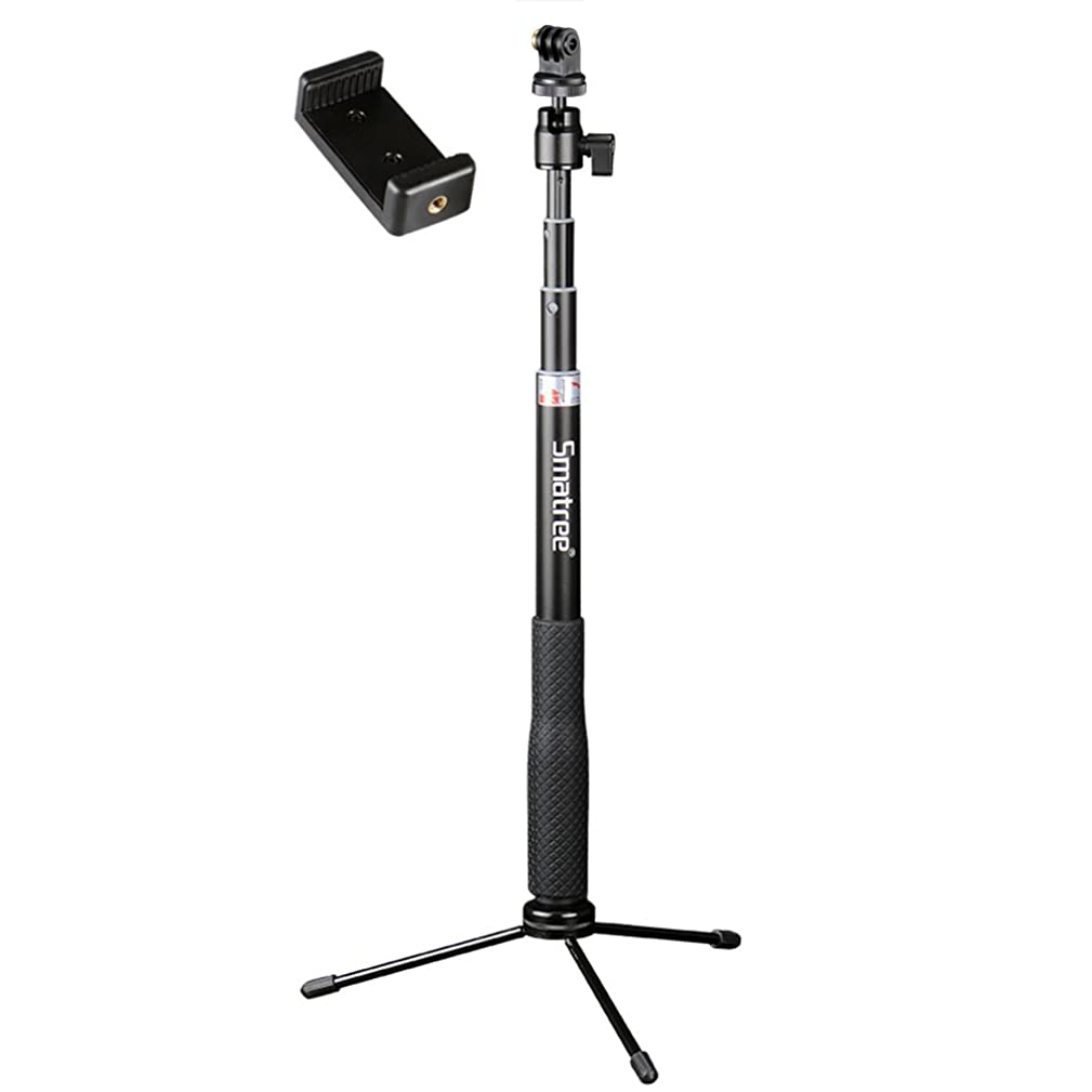 Smatree Q3 Telescoping Selfie Stick with Tripod Stand Compatible for GoPro Hero Fusion/7/6/5/4/3+/3/Session/GOPRO Hero (2018)/Action Cameras,DJI OSMO Action Camera,SJCAM,AKASO,Xiaomi Yi and Cell Phone