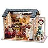 Cafopgrill Miniaturas de Madera en 3D Casa de mu?ecas Juguetes DIY Casa Kit para ni?os Regalos de cumplea?os(Holiday Time with Battery)