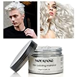 Hair Color Wax Wash Out Hair Color Temporary Hairstyle Cream 4.23 oz Hair Pomades Natural White Hair Gel for Men and Women (White)