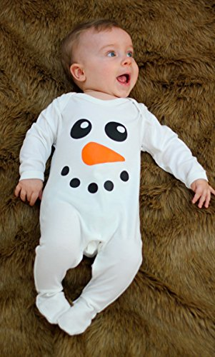 Babies Outfit for Boys or Girls | Cute Snowman Baby Sleepsuit Romper Clothes, Gift or Costume | BABY MOO'S UK (6-12 Months, Sleepsuit)