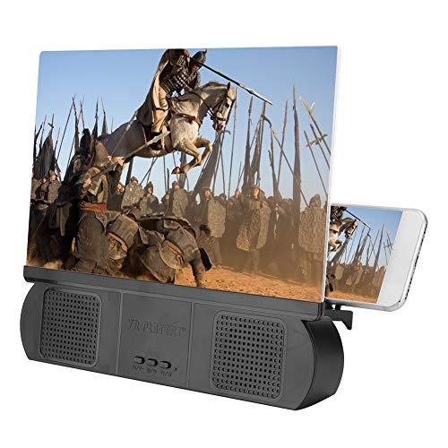 ASHATA Lupa de Pantalla de teléfono móvil, Altavoz de Audio Bluetooth de 12 Pulgadas Amplificador de Pantalla de teléfono móvil Negro para Carga USB de Android, para Regalo Viaje Campamento