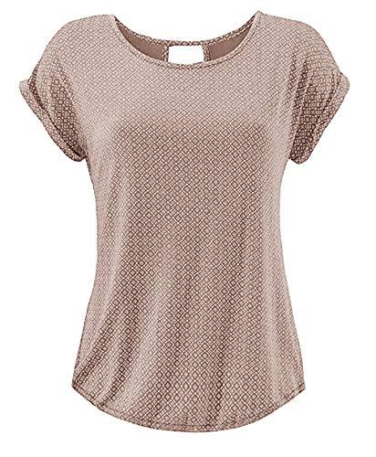 Yidarton T Shirt Damen Basic Tee Damen T-Shirt Damenblusen Kurzarm mit Allover-Minimal Print Lose Stretch Sommer Tops Beige XL
