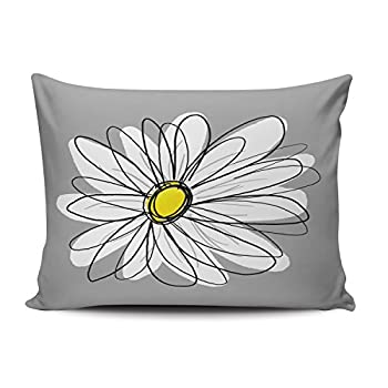 SALLEING Custom Luxury Funny Grey and White Trendy Daisy with Gray and Yellow Decorative Pillowcase Pillowslip Throw Pillow Case Cover Zippered One Side Printed 12x20 Inches