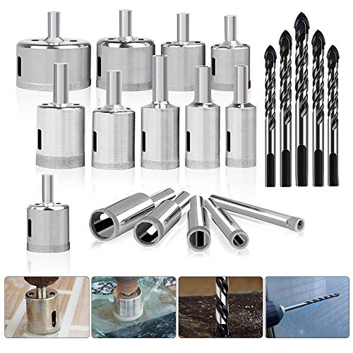 15pcs Diamond Drill Bit (1/4'-2'), Hollow Core Hole Saw Drill Bits Cutter Tools Set With Diamond Coating Carbon Steel and 5pcs Masonry Drill Bits Set for Glass/Tile/Ceramic/Marble/Porcelain Cutting