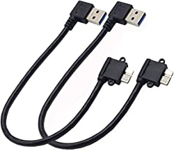 Seadream 2Pack 25CM Right Angle USB 3.0 Micro-B Male to USB 3.0 A Male Adapter Cable