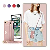 DEFBSC Finger Strap Case with Lanyard for iPhone 6 Plus/6s Plus/7 Plus/8 Plus, PU Kickstand Case with Adjustable Crossbody Strap, Finger Strap and Card Slot Cover for iPhone 7 Plus-Rose Gold