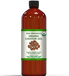 Organic Castor Oil - 100% Pure Natural,Cold Pressed,Hexane Free Oil by SVA Organics -Used for Eyelashes,Eyebrows,Hair Growth,Skin,Reduces Joint Pain/Arthritis (16 OZ (472 ML))