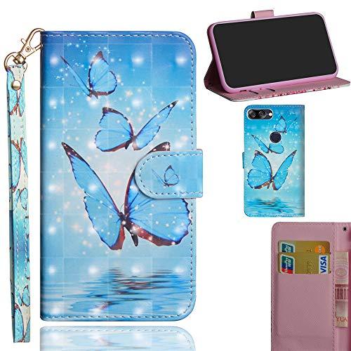 Ooboom Asus Zenfone Max Plus (M1) ZB570TL Hülle 3D Flip PU Leder Schutzhülle Handy Tasche Hülle Cover Ständer mit Trageschlaufe Magnetverschluss - Blau Schmetterling