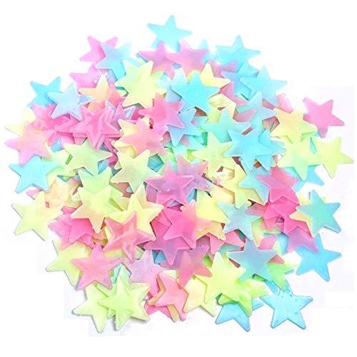 Lezed Leuchtsterne Punkten Wandsticker Leuchtsterne Sternenhimmel Leuchtsticker 3D Sterne Wandsticker Leuchtaufkleber 3D Sterne Leuchtende Wandaufkleber Sterne Fluoreszierend Wandaufkleber 100 Stück