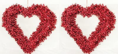 Set of 2 Red Tinsel Heart Valentine Wreath - Size 16 Inch