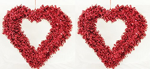 2 Red Tinsel Valentine Hearth Shaped Wreath 16 Inches